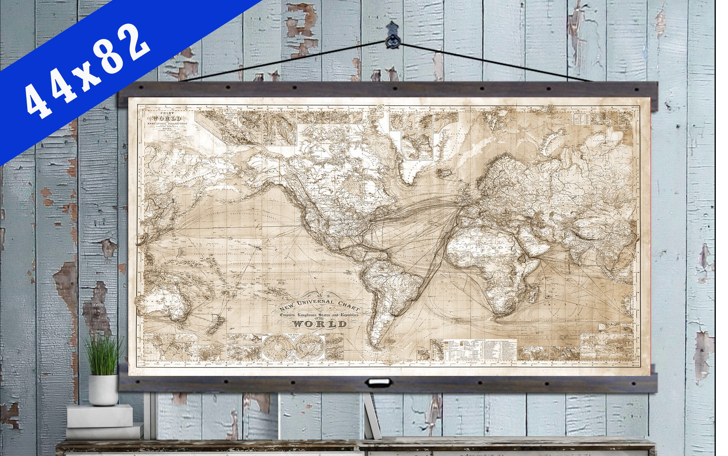 Vintage Pull Down Map. Huge World Map on Canvas 1885. 44x82 on