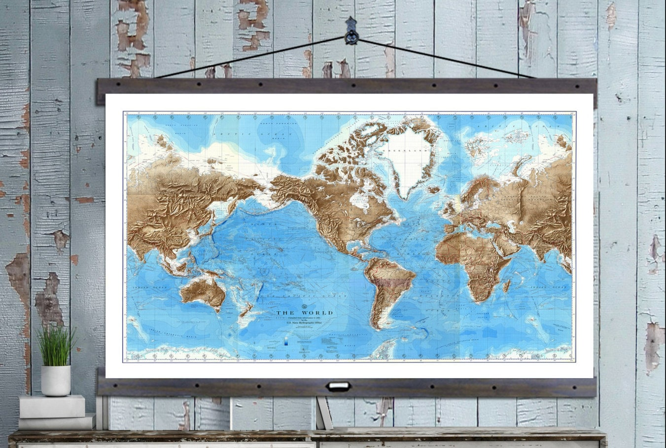 NEW! Pull Down Map. World Map on Canvas 1910. 60w x 40h, School ...