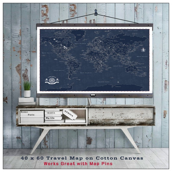 Pull down map modern world map 2016 blue print style on etsy image 0 gumiabroncs Images