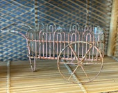Vintage Glass and Pink Wire Metal Garden Cart Planter