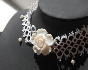 Tatted handmade necklace with white pearls