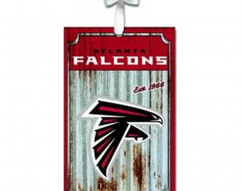 Atlanta Falcons Metal Farmhouse Rustic Ornament NFL Football Licensed Christmas Decoration