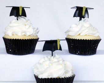 12 - 3D Graduation Cap Hat Cupcake Picks Cake Toppers Party Favors