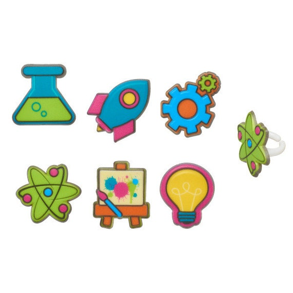 12 Stem Icons Science Symbols Cupcake Rings Toppers Party Favors Back To School