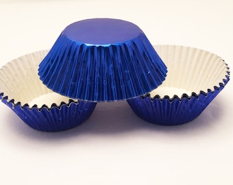 48 Blue Foil Standard Size Cupcake Liners Baking Cups