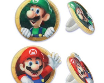 12 Super Mario Cupcake Rings Toppers Party Favors Mario and Luigi