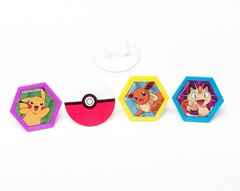 12 Pokemon Go Pikachu Cupcake Rings Toppers Party Favors