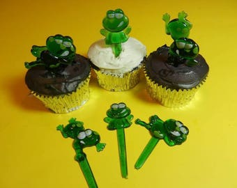 12 Cute Green Festive Frogs Cupcake Picks Toppers Party Favors