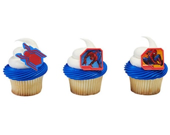 12 Spider Man Homecoming Cupcake Rings Toppers Party Favors