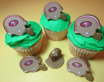 12 San Francisco 49'ers Cupcake Rings NFL Football Toppers Party Favors