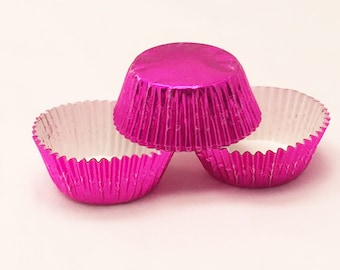 48 Hot Pink Fuscia Foil Standard Size Cupcake Liners Baking Cups