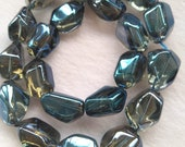 16 quot Strand Natural royal blue Crystal Quartz Beads, Faceted Polished Hammered Barrel Nuggets, 15-20mm Natural Rock Crystal Quartz
