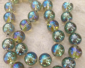 "6\8\10\12mm natural Quartz  Mystic Coated AB Green  round beads Gemstone  round beads 16"" strand Rose rock crystal for bracelet ,necklace"