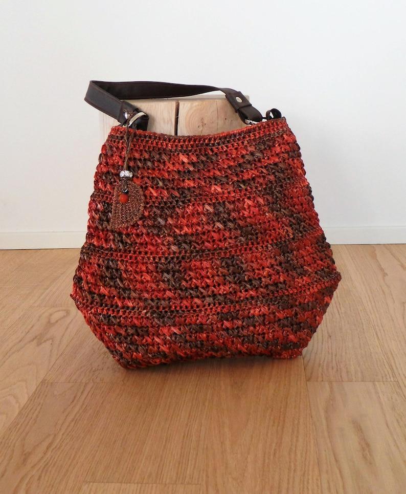 Borsa Crochet In Rafia Melange Color Ruggine Grande Borsa Etsy