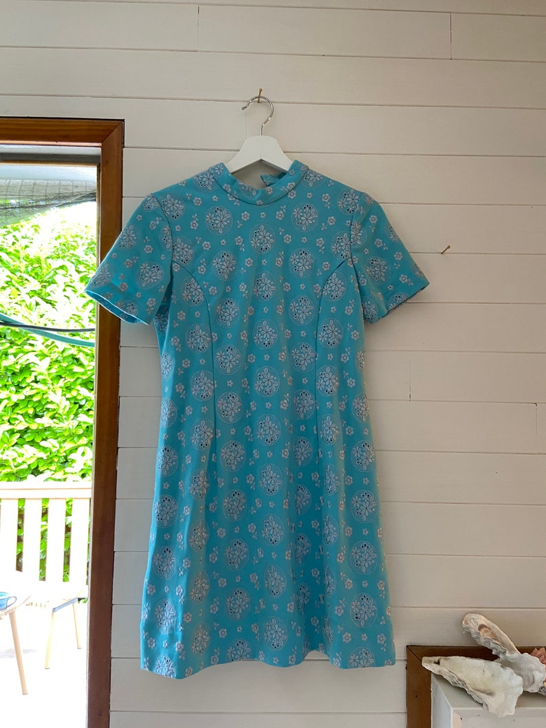 Vintage Eggshell Blue Mod Dress with Eyelet Fabric