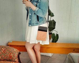 Mamzelle Jacinthe bag, messenger adjustable and eco-friendly Tan and black, blackand re