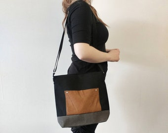 Mamzelle Diana - Medium handbag with leather pocket eco-responsible canvas black red grey or teal serigraphy of tote satchel peas