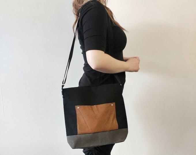 Miss Diana - Medium handbag with Pocket Leather canvas red grey black green or Teal polka dot tote bag screen print
