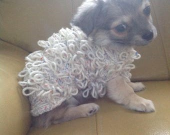 Hand Knitted Loopy Pattern Chihuahua Dog Puppy Coat in Cream Aran Wool with Coloured Flecks to fit a dog with a back length of 8-10 inches