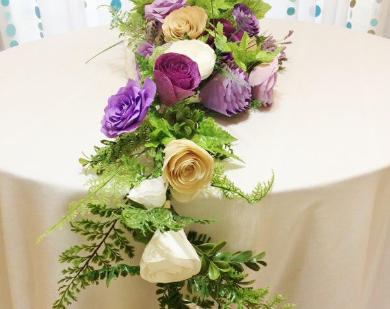 Floral table runner - 12 foot Paper flower arch in shades of purple