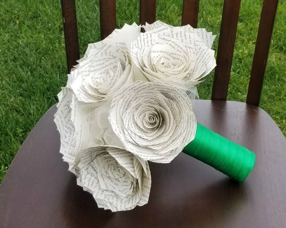 Book Page Paper Bouquet - Handle Color is Customizable