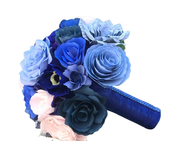 Shades of Blue and Blush Paper Flower Wedding Bouquet in customizable colors