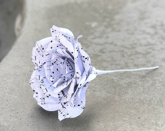Music note paper flowers - Paper music rose in many tip color options