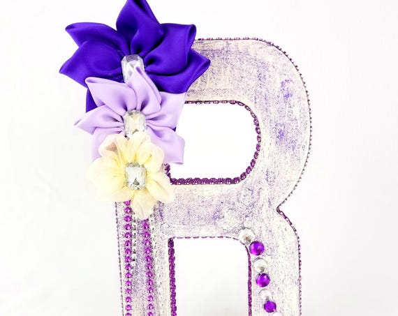 Purple wood floral letter - Rhinestone initial - Girl's room decor- Nursery letter - Floral initial decoration - Floral number