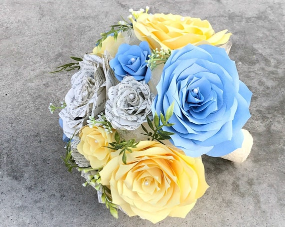 Yellow and Blue Bridal bouquet using paper filter flowers and book page roses - Customizable colors