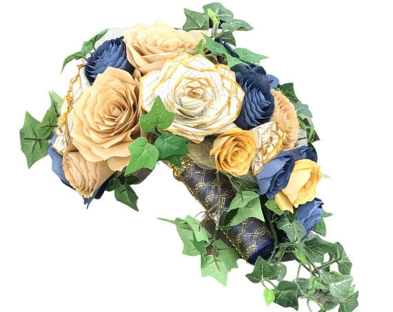 Cascading Bridal Bouquet - Gold and navy blue paper roses, peonies & book page flowers - Customize your colors