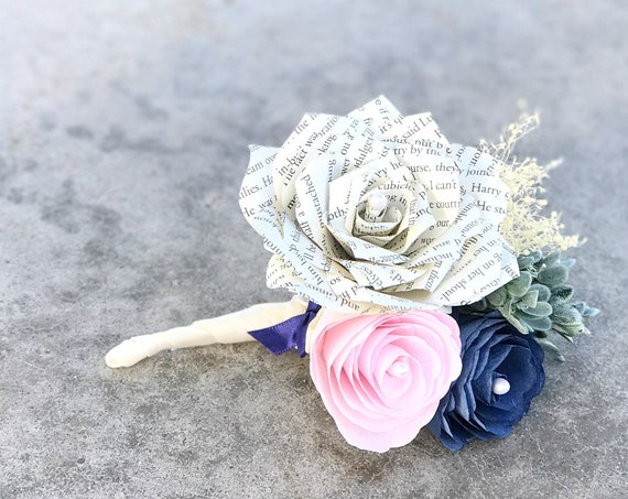 Peony and Book Page Paper Corsage or Boutonniere - Customizable colors