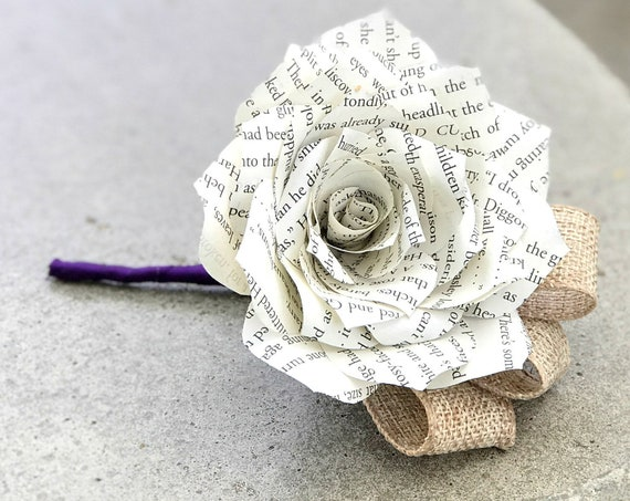 Book Page Paper  and Burlap Boutonniere