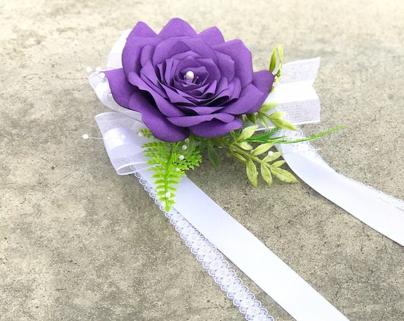 Purple paper flower wrist corsage in customizable colors