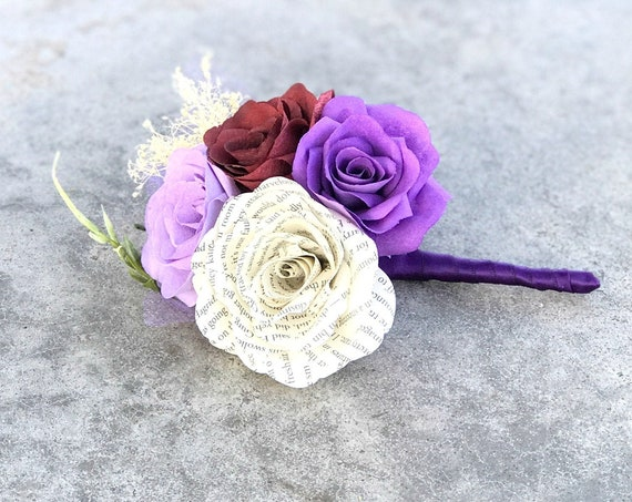 Boutonniere or corsage using book page and filter paper flowers - Customizable colors