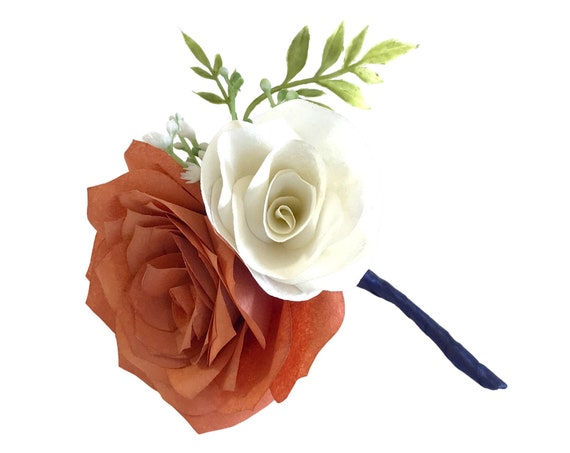 Burnt Orange and ivory Paper Flower Boutonniere - Wedding boutonniere - Customizable colors