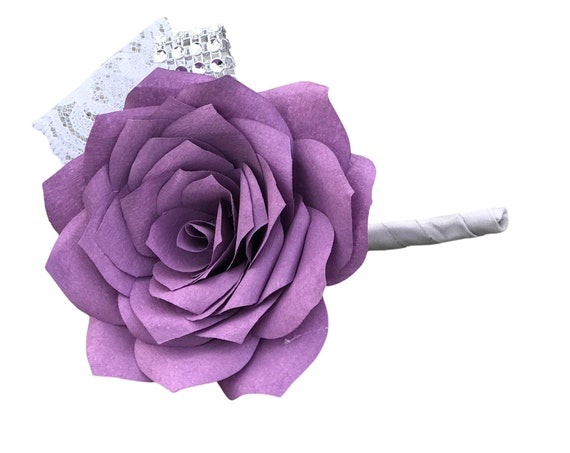 Paper Flower Boutonniere for Wedding or Events - Colors are customizable