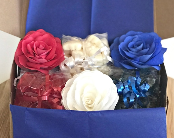 Red white and blue paper flower and candy gift box - Happy Fourth of July celebration gift box