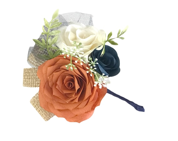 Paper Flower Pin On Corsage in Burnt Orange and Navy blue
