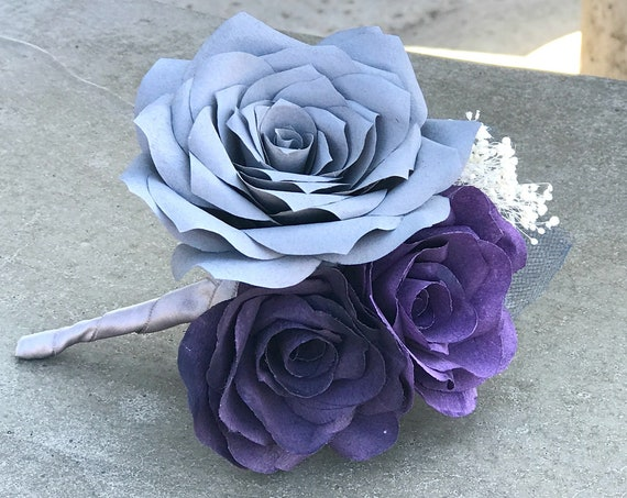 Paper flower Boutonniere - Groom boutonniere - Prom boutonniere - Customizable colors