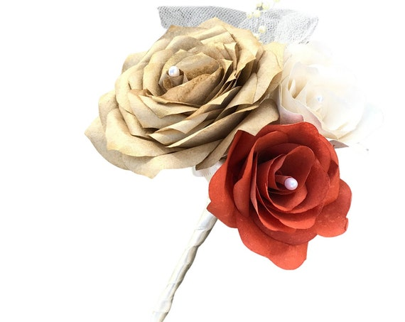 Paper rose boutonniere - Gold Prom boutonniere - Wedding boutonniere - Customizable colors