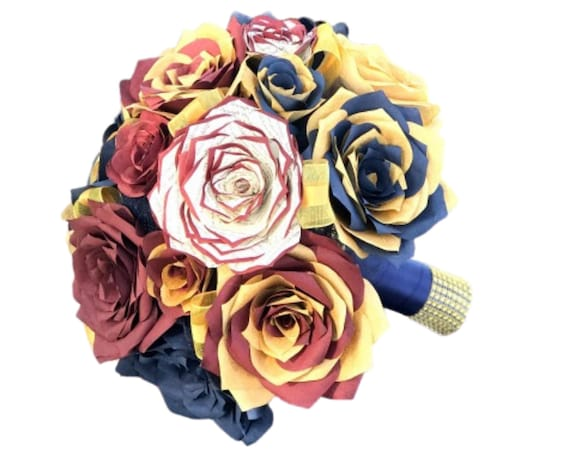 Dragon Wedding Bouquet in burgundy, gold & navy blue paper flowers - Customizable colors