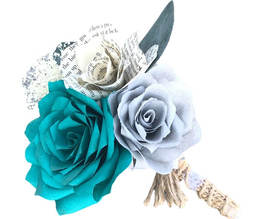 Teal Paper Flower Boutonniere in Customizable colors