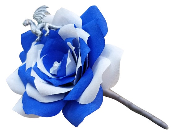 Dragon boutonnière - Paper flower wedding boutonniere in blue and white - customizable colors