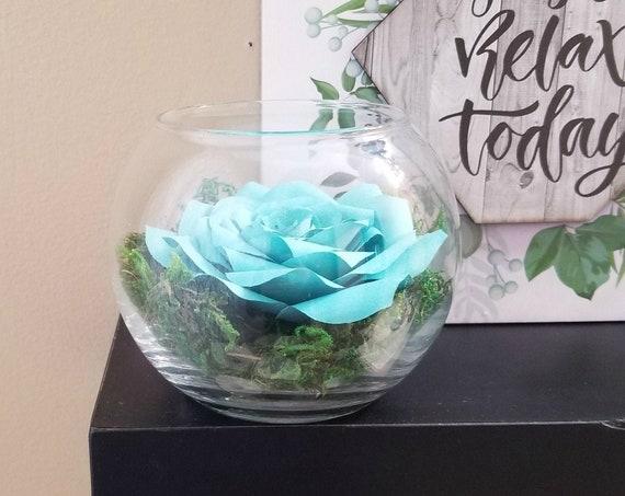 Terrarium - Paper Rose Terrarium - Many Color Choices