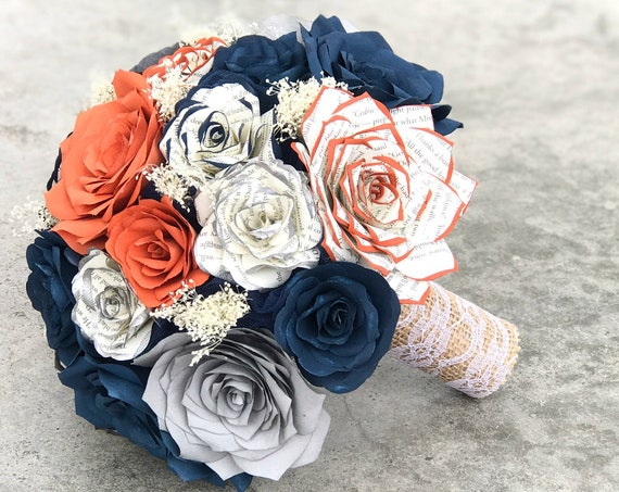 Burnt orange, navy blue, gray filter paper roses with tipped book page roses - Customizable colors