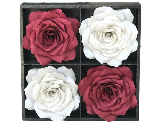 Burgundy And Silver 3D Paper Flower Wall Art - Choose from 2 sizes - Customizable colors - Home office decor