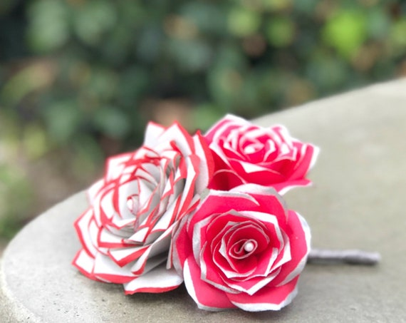 Red and silver paper rose boutonniere - Customizable Colors