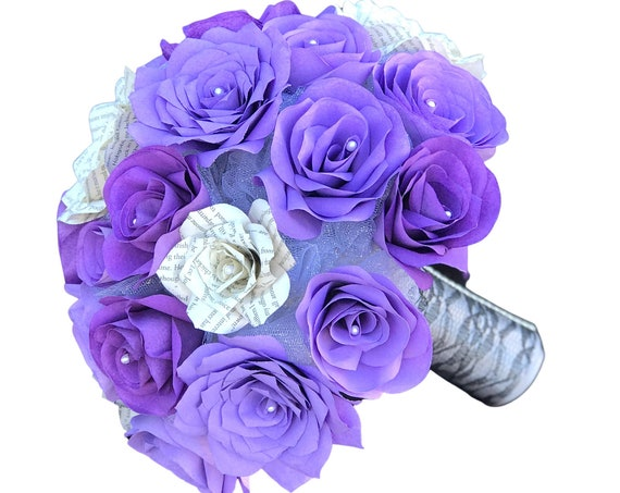 Bridal bouquet shown in shades of purple paper flowers and book page roses - Colors are Customizable