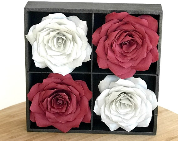 Burgundy And Silver 3D Paper Flower Wall Art - Choose from 2 sizes - Customizable colors