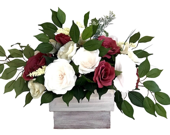 Centerpiece in Blush, Burgundy and Champagne Paper Flowers